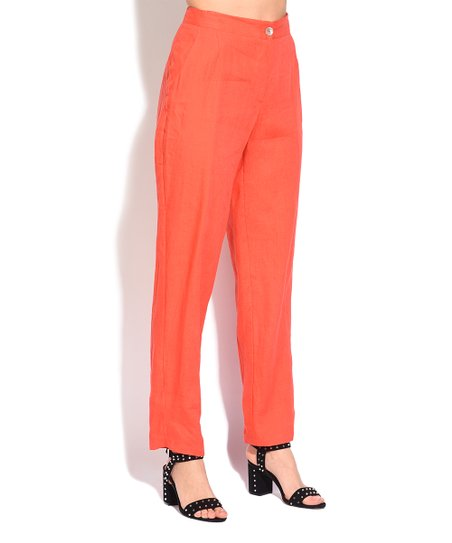 79822792970 love this product Orange Linen Trouser Pants - Women