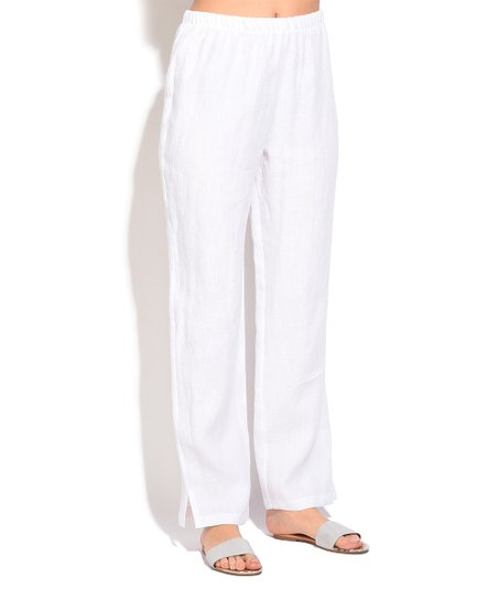 9d817c64339 love this product White Linen Split-Cuff Trouser Pants - Women