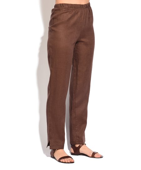 6032ed2ae29 Eva Tralala Brown Linen Split-Cuff Trouser Pants - Women