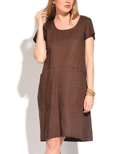 7a020188995 Eva Tralala Brown Linen Scoop Neck Pocket Shift Dress - Women   Plus ...