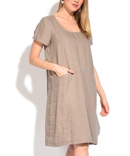 df84c42358d Eva Tralala Beige Linen Scoop Neck Pocket Shift Dress - Women