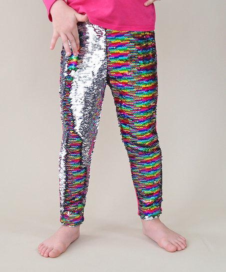 d14e0012 love this product Rainbow & Silver Reversible Sequin Slim-Fit Leggings -  Toddler & Girls