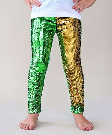2973118eeeb4d love this product Green & Gold Reversible Sequin Slim-Fit Leggings - Toddler  & Girls