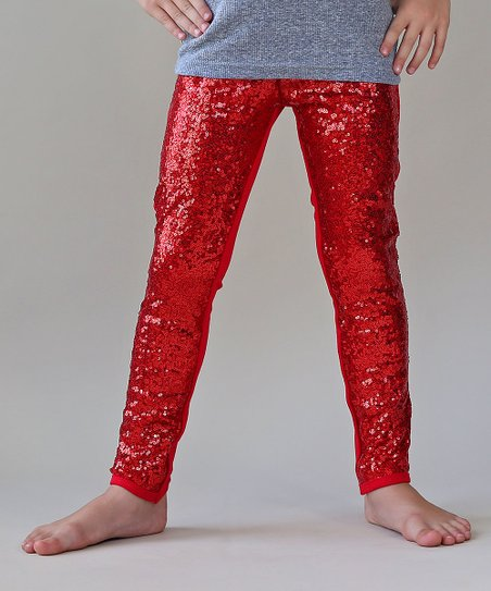 a5646b40960 love this product Red Metallic Sequin-Front Leggings - Toddler   Girls