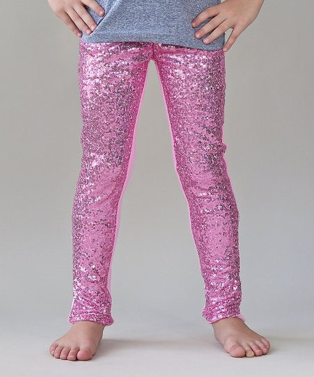 2c3f387dfe9 Whitney Elizabeth Pink Metallic Sequin-Front Leggings - Girls