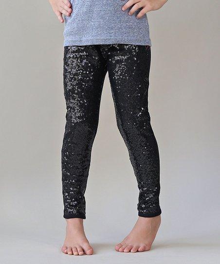 320e6ecd005 Whitney Elizabeth Black Metallic Sequin-Front Leggings - Girls