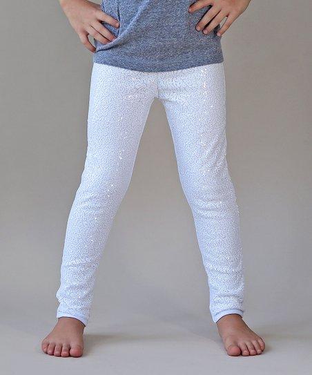 e13539d3bd6 Whitney Elizabeth White Sequin-Front Leggings - Newborn