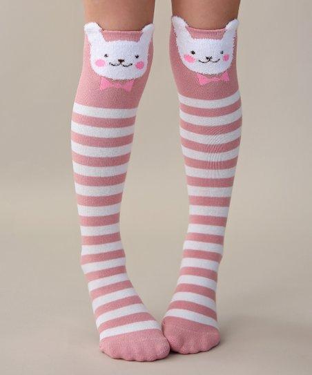 8629236ba Whitney Elizabeth Pink   White Stripe Bunny Knee-High Socks