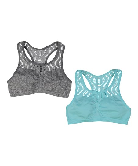 1379c97db6be1 René Rofé Girl Blue   Gray Phoebe Lace Racerback Bralette Set ...