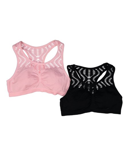 b1f6ce21907f9 love this product Pink   Black Phoebe Lace Racerback Bralette Set - Girls
