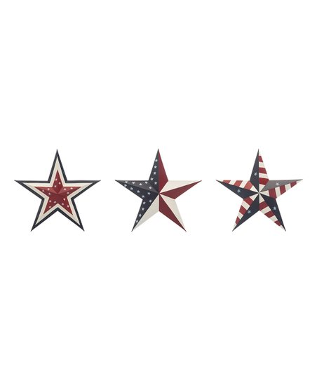 Red Blue Metal Star Wall Décor Set Of Three