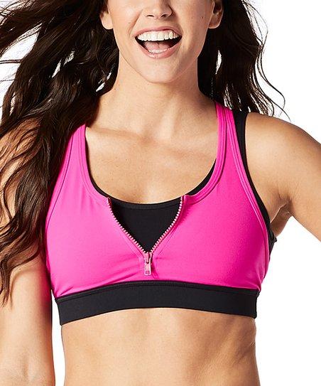 b7c60653d0 love this product Shocking Pink Team Zumba Zip Sports Bra - Women