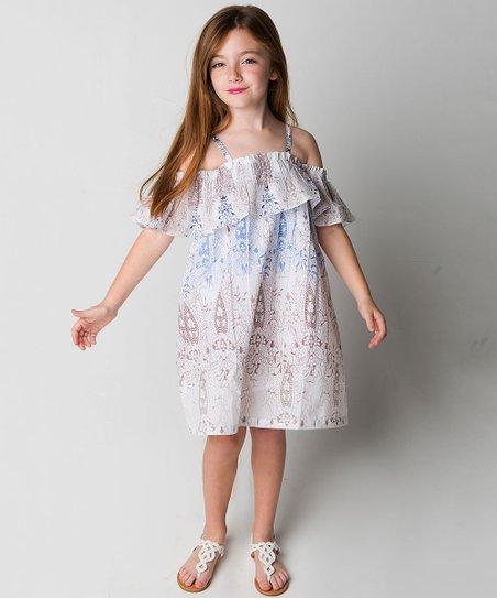 dc0d84c52242 love this product Blue & White Floral Off-Shoulder Dress - Girls