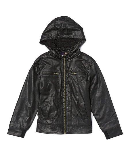 54921f75d64a Daniel L Black Faux Leather Hooded Jacket - Boys