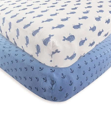 Hudson Baby Blue White Whale Fitted Crib Sheet Set Of Two Zulily