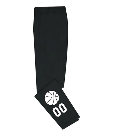 mondays child black basketball number personalized leggings infant