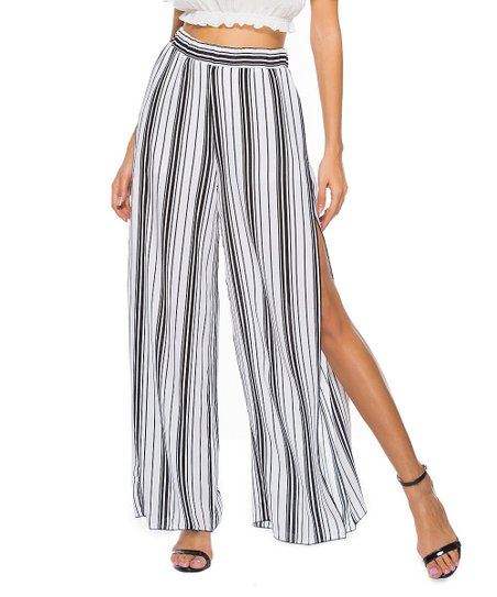 45122c9e0069b3 love this product Black & White Stripe Side-Slit Wide-Leg Pants - Women
