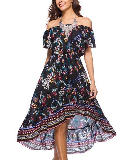 7b62a1fd909 love this product Black   Burgundy Floral Hi-Low Dress - Women
