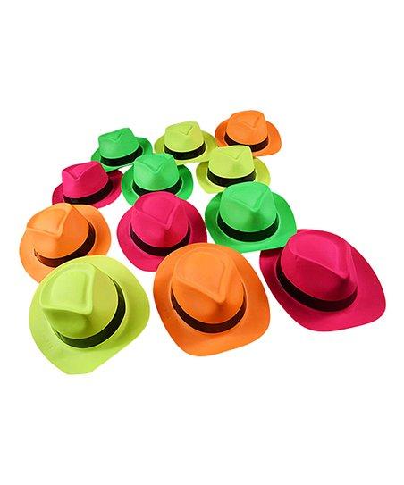 1e4d5a1a35613 love this product Neon Fedora Party Hat - Set of 24