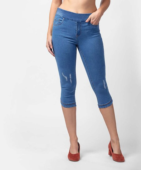 546c84db20b9a8 BLUBERRY DENIM Medium Blue Wash Eliana Skinny Capri Jeans - Women ...
