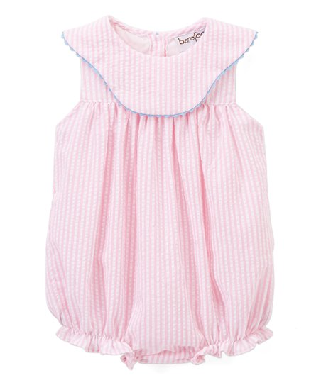 c02be23d6 Barefoot Childrens Clothing Pink Seersucker Bubble Romper | Zulily