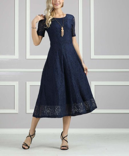 578d97b274a Suzanne Betro Dresses Navy Lace Fit   Flare Dress - Women   Plus ...