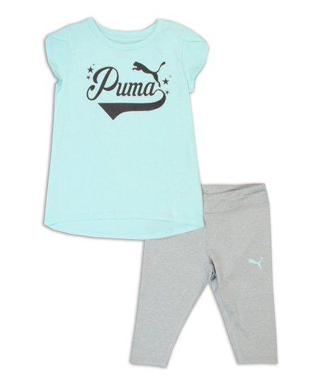 73c7637c1c8358 love this product Light Blue Logo Tee & Gray Capri Leggings - Girls