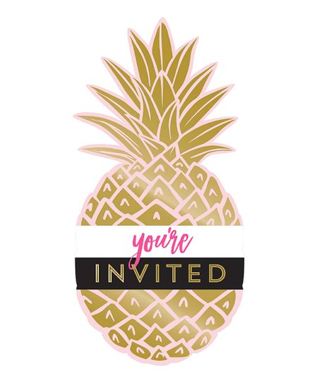 creative converting golden pineapple invitations set of eight zulily