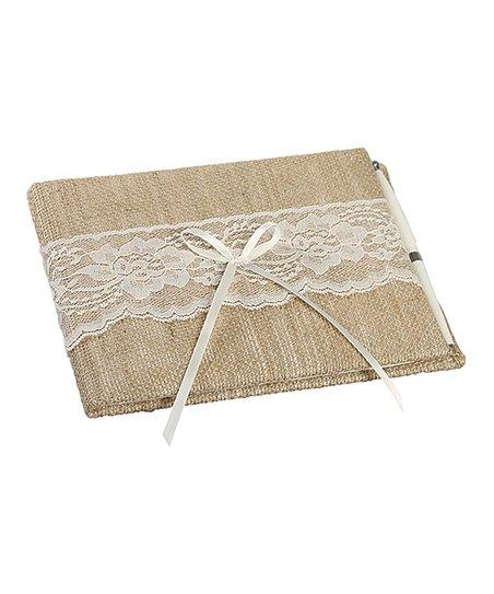 Ivy Lane Design Lace-Accent Burlap Guest Book   Pen  b3abe655a