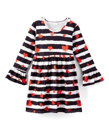 Black & White Stripe Heart A-Line Dress - Infant, Toddler & Girls