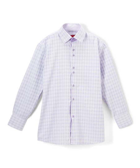 44dde066 Elie Balleh Lavender Gingham Button-Up - Boys | Zulily
