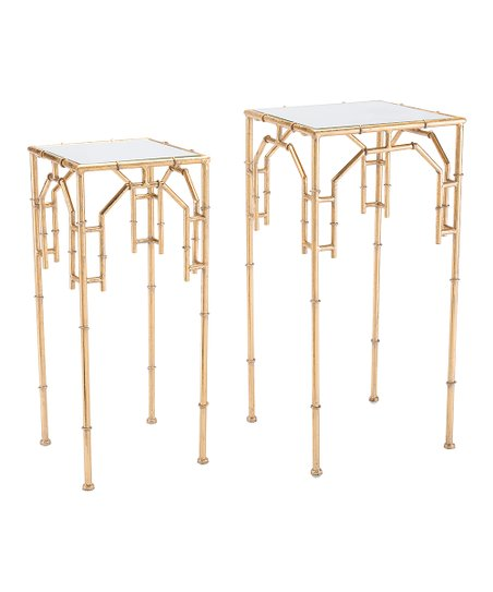 Zuo Gold Bamboo Side Table   Set Of Two