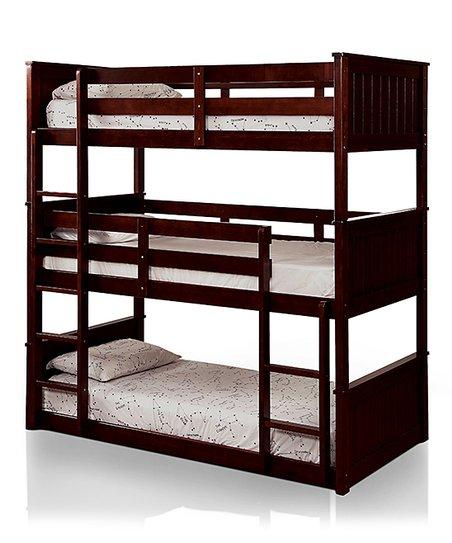 Serendipity Walnut Davin Transitional Wood Triple Bunk Bed Zulily