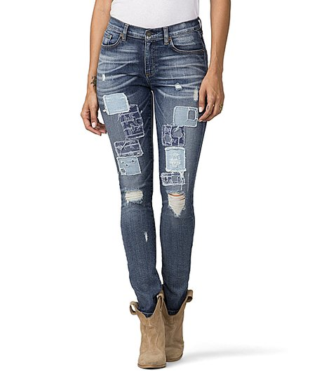 7984e437ba love this product Medium Wash Distressed Patchwork Skinny Jeans - Women