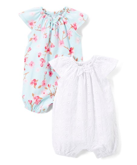 425b7529b0a Baby Starters Blue Floral   White Eyelet Romper Set - Infant