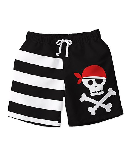 Sunshine Swing Black Stripe   Pirate Swim Trunks - Toddler   Boys ... 2befd6ccb1