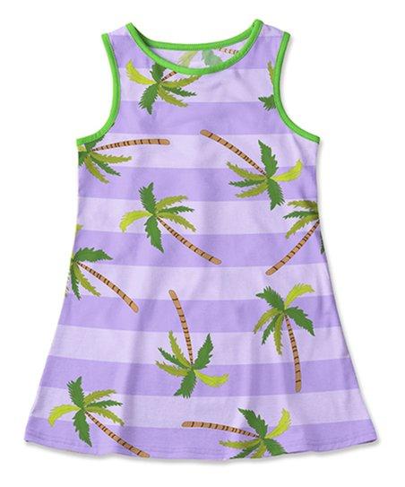 74ce8c0371 Sunshine Swing Lavender   Green Palm Tree Swim Cover-Up - Toddler ...