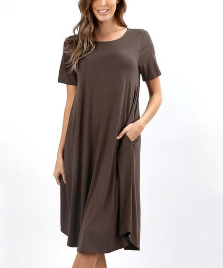 d4c460eeffab love this product Brown Pocket T-Shirt Dress - Plus