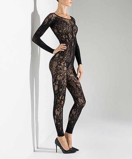 7e76282fb92 Natori Black Floral Lace Bodystocking