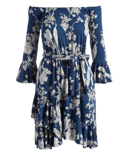 c20173bfc47d love this product Blue   White Floral Tie-Waist Off-Shoulder Dress - Women    Plus