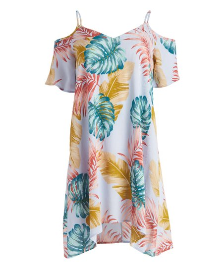 81aa0c2c711 love this product Periwinkle Palm Tree Cold-Shoulder Tunic Dress - Women