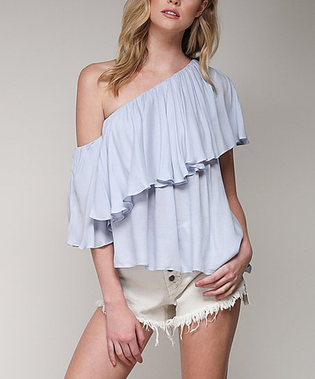 915d7eabccf18 love this product Blue Ruffle Off-Shoulder Top - Juniors