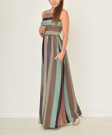 1c0cb6e0a84ad love this product Mint Charcoal Stripe Pocket Maxi Dress - Women