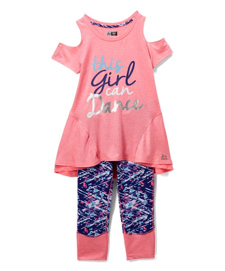 e16a8dffa love this product Knockout Pink 'Dance' Cutout Top & Navy Abstract Leggings  - Girls