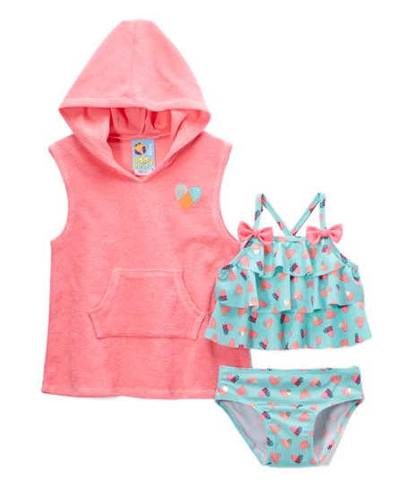 3cd212c127878 love this product Ice Green Heart Bikini & Pink Cover-Up - Infant