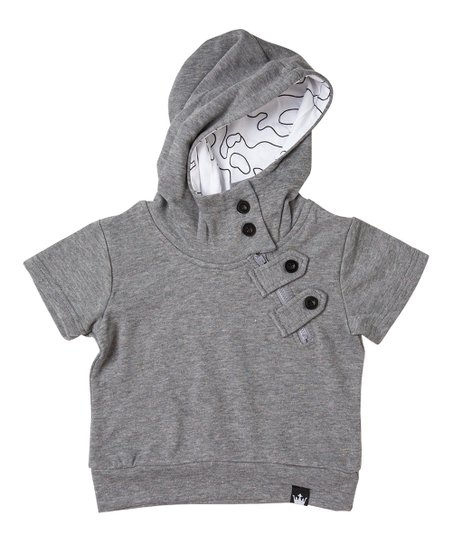 0aac783eda71 Littlest Prince Couture Charcoal Asymmetrical Zip-Front French Terry ...