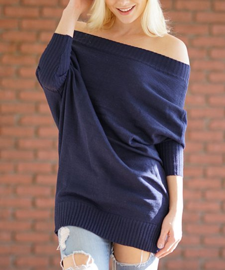49e92e4566f love this product Navy Off-Shoulder Sweater Dress - Women