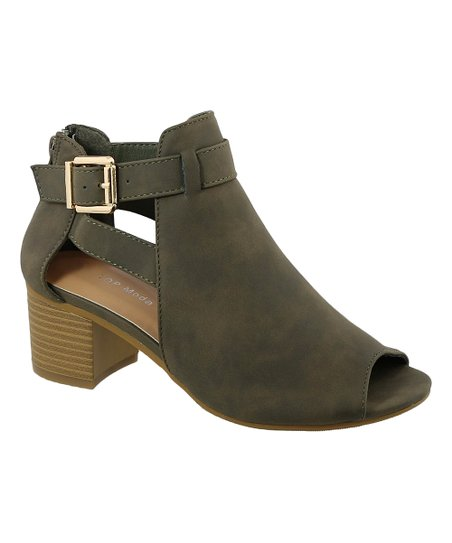 a853a339b love this product Olive Green Peep-Toe Vivi Bootie - Women