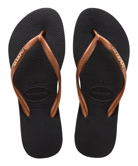 023c4307c love this product Black   Copper Slim Logo Metallic Flip-Flop - Women