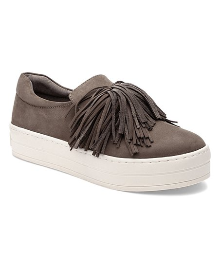 98b00b9f222 love this product Taupe Fringe Hope Leather Slip-On Sneaker - Women